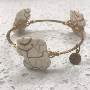 Bourbon and Bowties cream & gold elephant bracelet